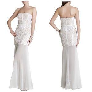 BCBG formal white gown